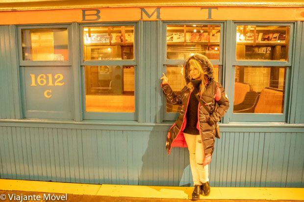Vagão de trem antigo do Museu do Trânsito de Nova York