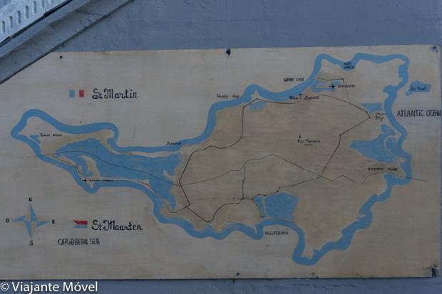 Mapa da ilha Saint Martin- St Maarten