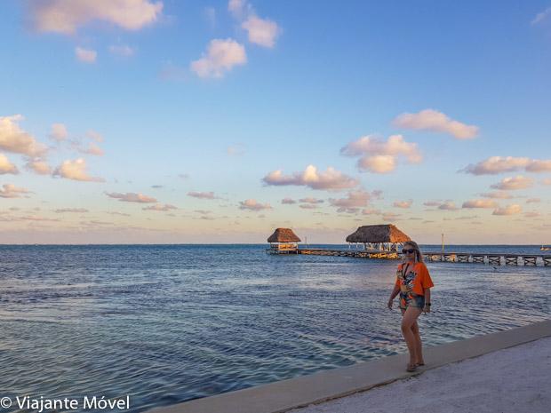 Por do sol em Belize