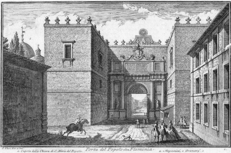 Porta del Popolo por Giuseppe Vasi (1747) Wikimedia Commons