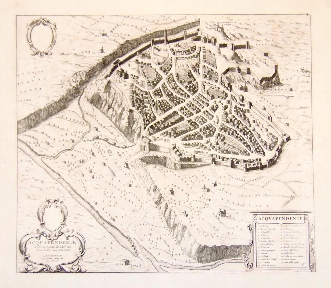 Acquapendente en el grabado de Pierre Mortier 1704