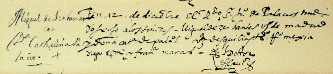 partida de matrimonio de Miguel de Cervantes y Catalyna de Palacio