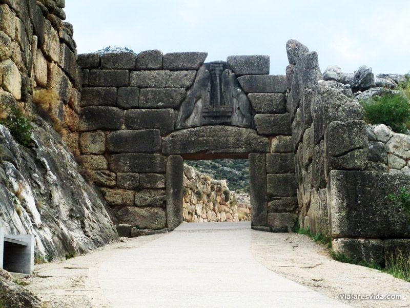 Puerta de los Leones de Micenas en Grecia