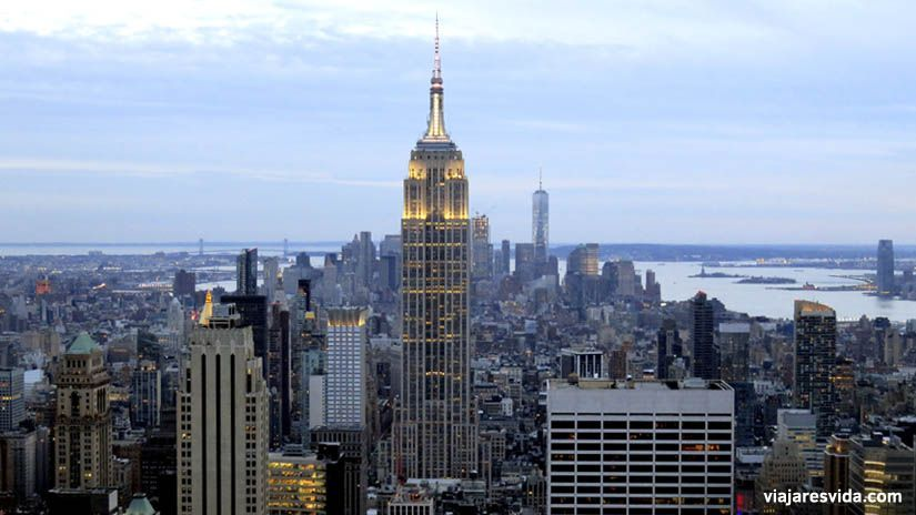Vistas del Empire State desde Top of the Rock de Nueva York.  Qué ver en Nueva York en una semana