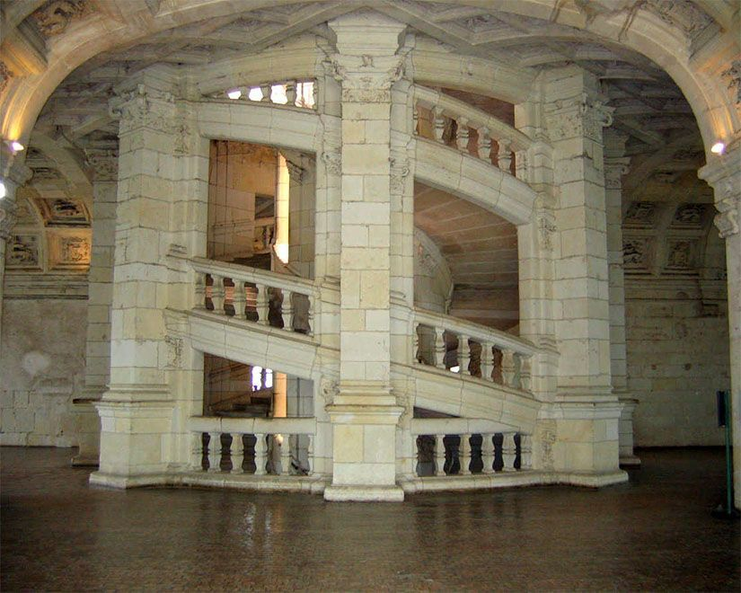 Escalera de Leonardo Da Vinci en Chambord