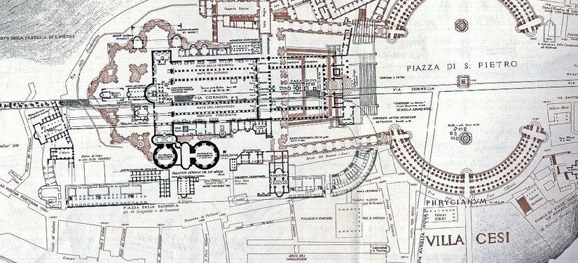Superposición de plantas de diferentes épocas de la Plaza de San Pedro del Vaticano