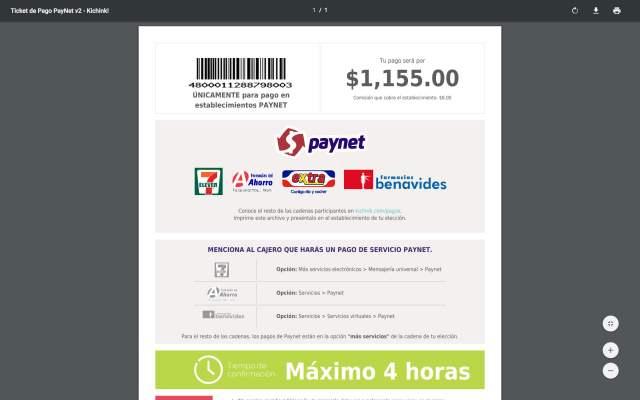 Código para hacer el pago.
