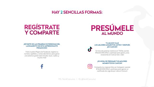 Sigue las redes sociales de #VenACancúnx2 para más detalles