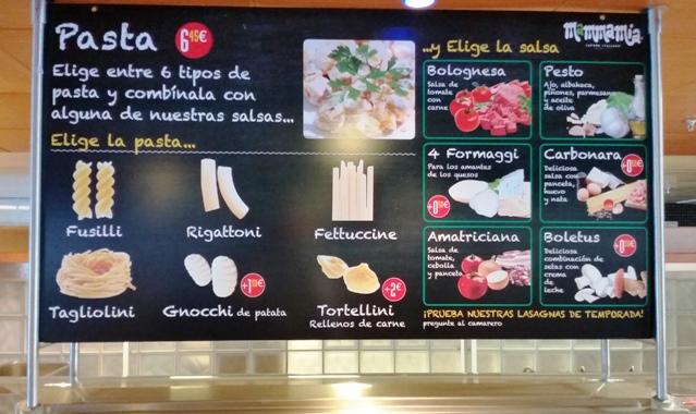 Panel informativo con Menú de Restaurante MAMMA MIA