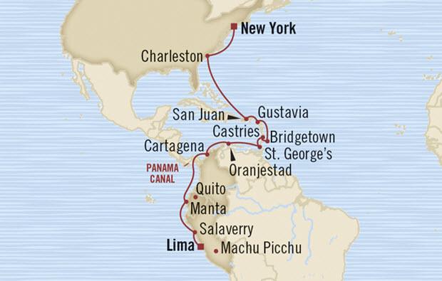 Crucero de Lima a Nueva York cruzando el Canal de Panam