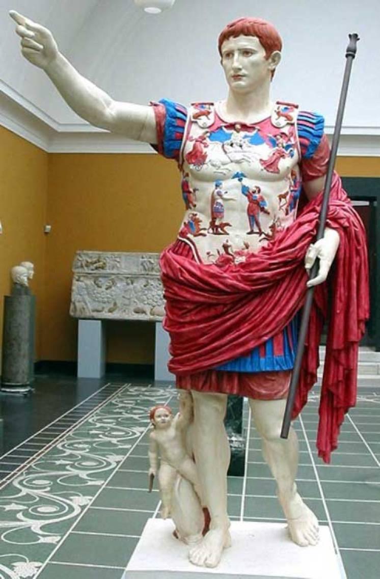 Estatua del emperador Augusto hallada en la villa de su esposa Livia, en Primpaporta