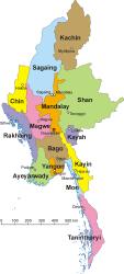 Mapa de Birmania
