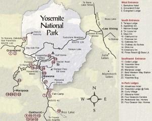Mapa de Yosemite con puntos de interés
