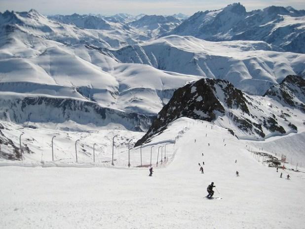Esquiando en Alpe d'Huez (Francia)