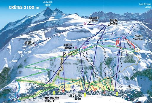 Mapa de pistas de Les 2 Alpes