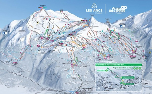 Mapa de pistas de Les Arcs