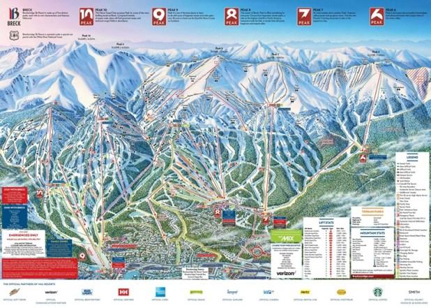 Mapa de pistas en Breckenridge (Colorado)