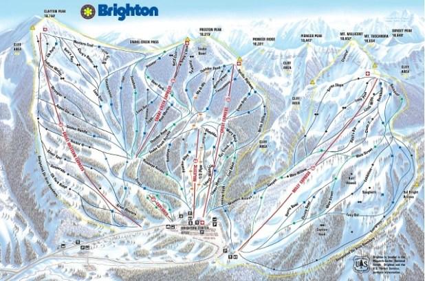 Mapa de pistas de esquí en Esquiando en Brighton (Utah)