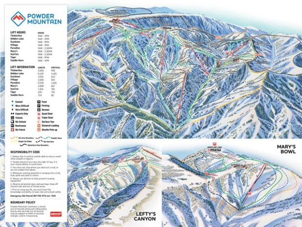 Mapa de pistas de esquí de Powder Mountain