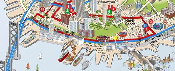 Mapa de San Francisco y recorrido de Big Bus Tours