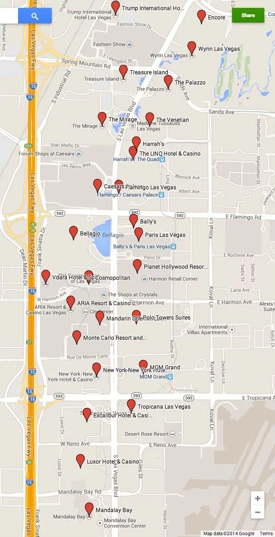 Mapa da Strip - via google maps