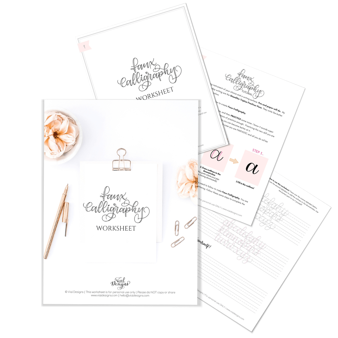 Free Faux Calligraphy Worksheet