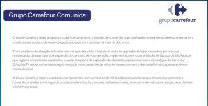 Aviso no site do Carrefour