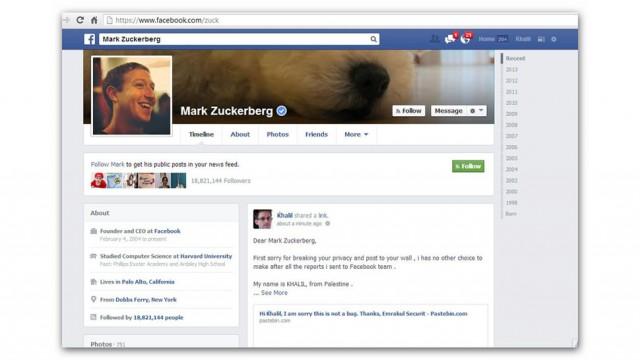Conta no Facebook de Marck Zuckerberg foi hackeada