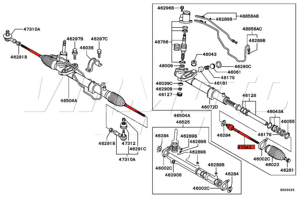 2003 Mitsubishi Outlander Steering Rack Diagram