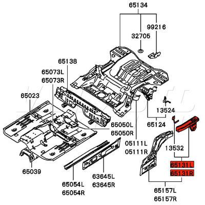 Viamoto Mitsubishi Car Parts LH Rear Chassis Rail Section