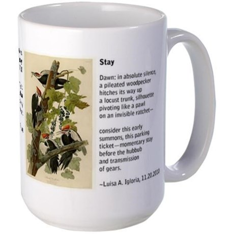 Audubon's full-color print of pileated woodpeckers paired with a poem by Luisa A. Igloria on a large mug (left side)