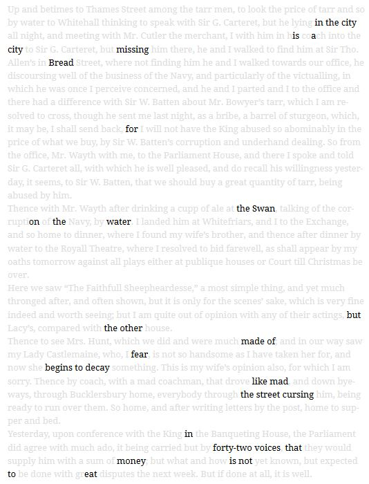 screenshot of the erasure poem