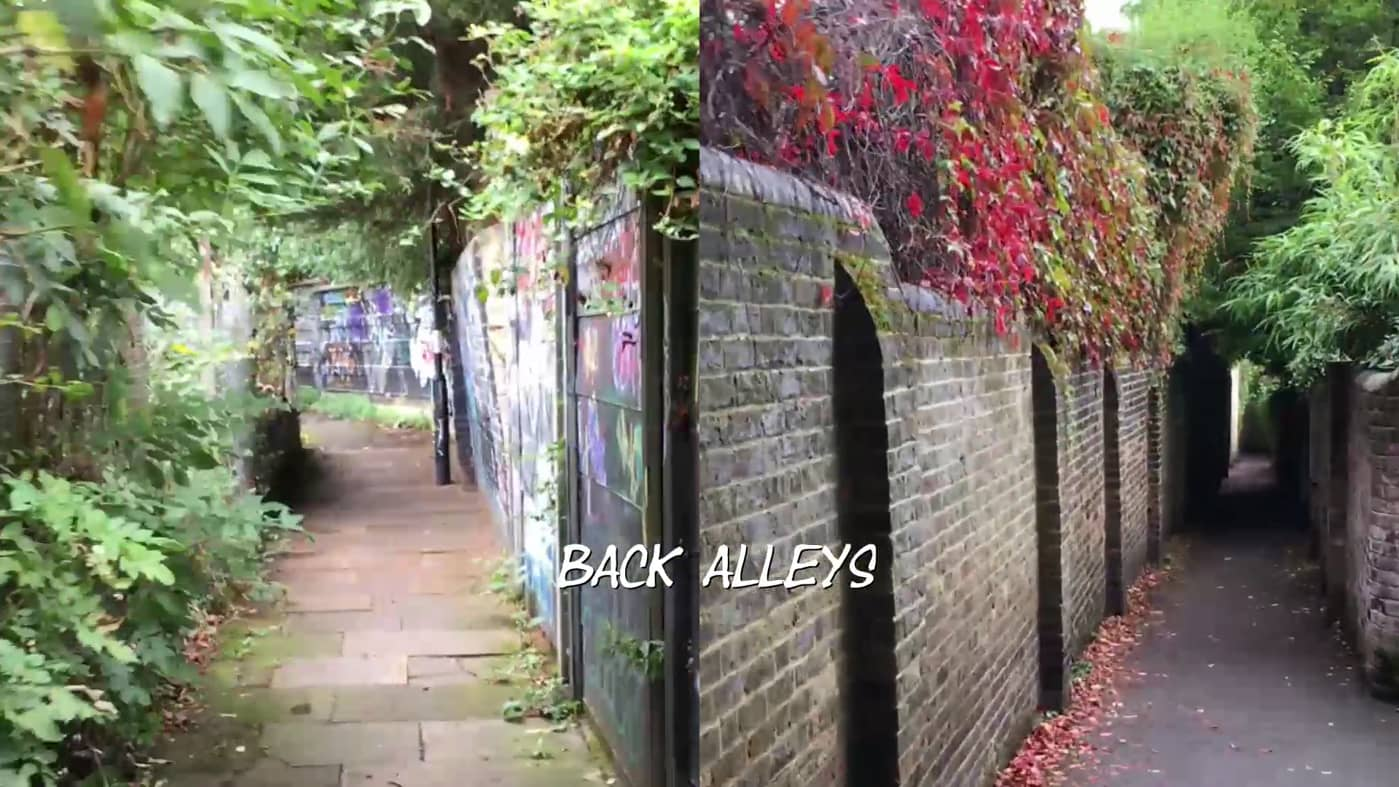 "still from ""back alleys"" showing two alleys side by side"