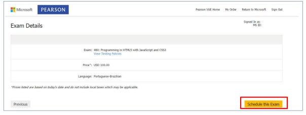 Certificação Microsoft Pearson Vue Vianna Jr passo 8