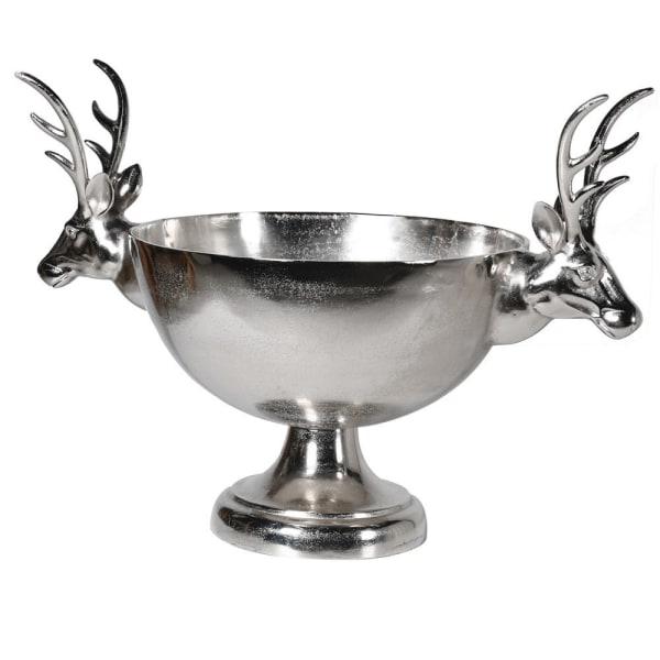 Stag head silver decorative bowl