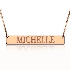 Engraved Name Bar Necklace In Rose Gold
