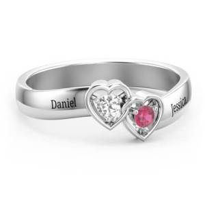 Double Interlocked Hearts Ring