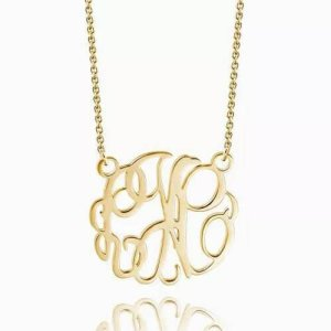 Monogram Necklace 14k Gold Plated
