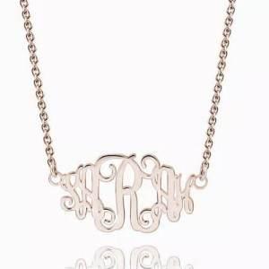 Celebrity Monogram Necklace Rose Gold Plated