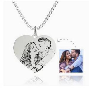 Womens Photo Engraved Tag Necklace With Engraving Stainless Steel