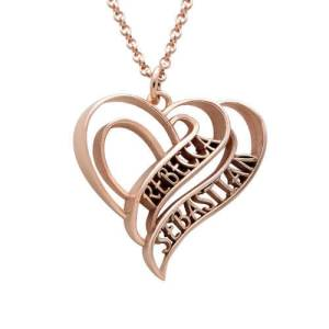 Personalized 3D Heart Necklace with Rose Gold Plating