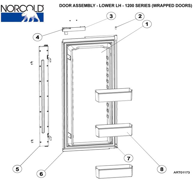 Norcold Refrigerator, 1200AC, Lower Door Assy, LH, Wrap