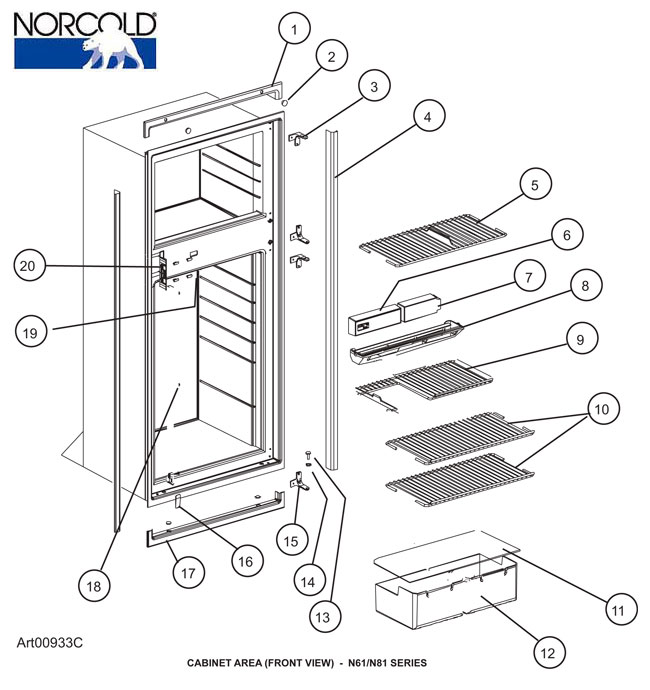 Norcold Refrigerator, Model N811, Front Cabinet Area