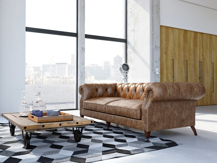 Brown Leather Couch with Desk