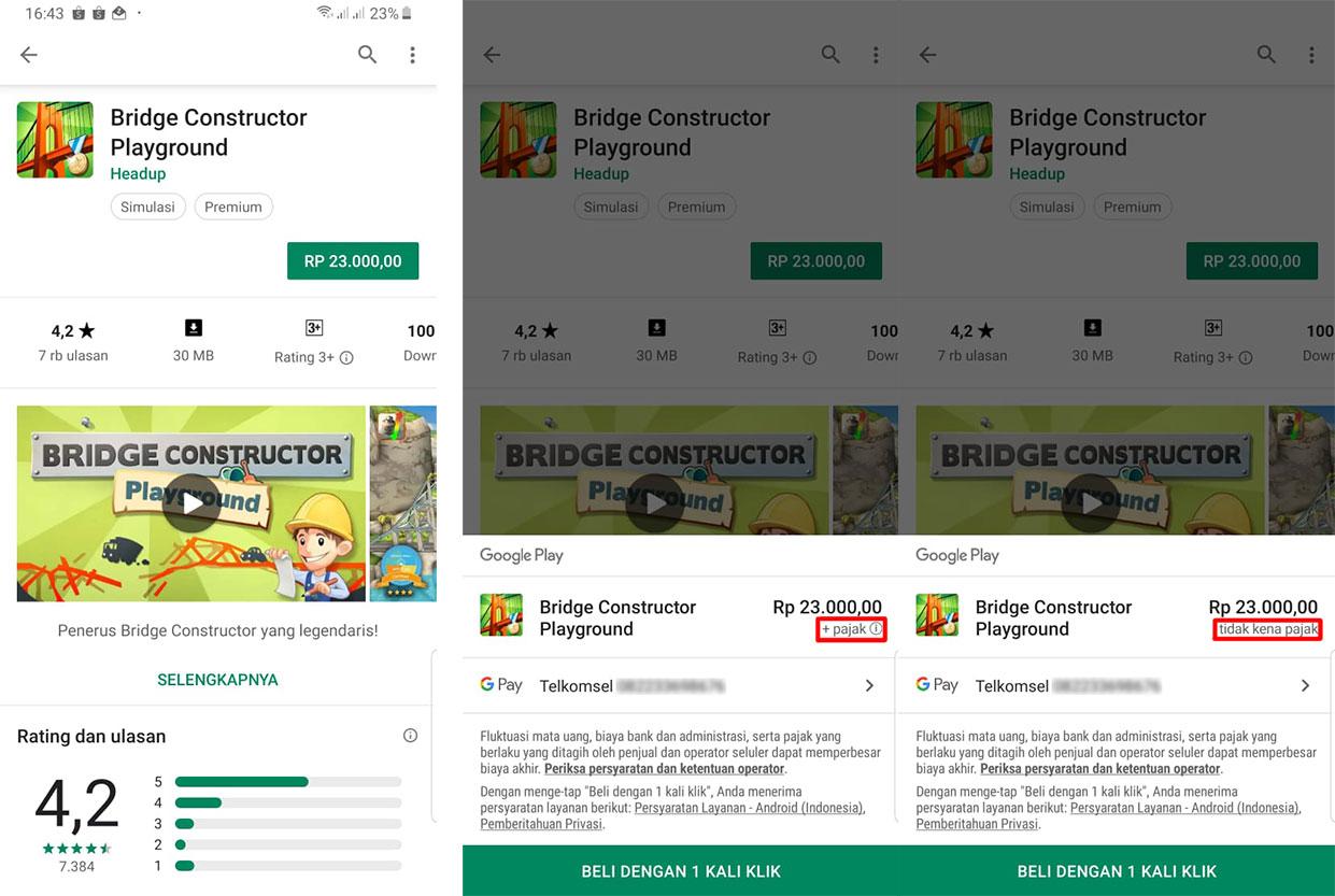 Tampilan Pembelian Aplikasi Bridge Constructor Playground Dengan Pulsa Di Google Play Store