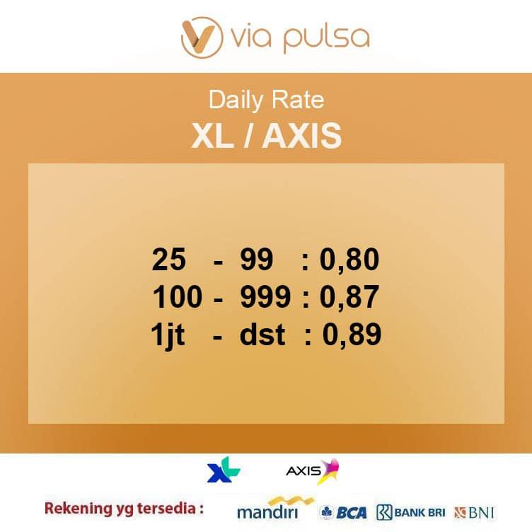Rate Convert Pulsa XL/AXIS Viapulsa