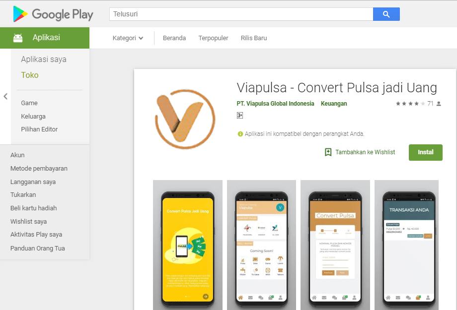 Aplikasi Convert Pulsa Viapulsa Di Google Play Store Versi Desktop Website