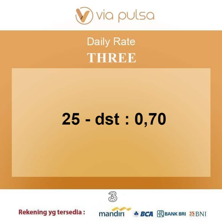 Rate Convert Pulsa Provider Three (Tri/3)