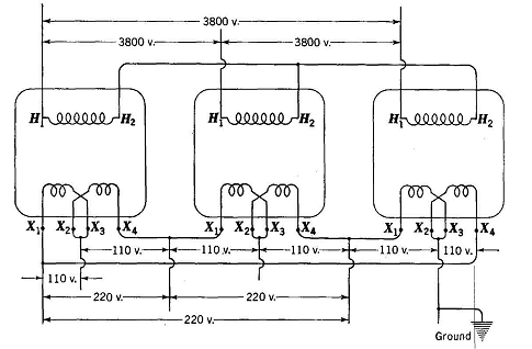 Three Phase Transformer Connection Diagrams Y : 45 Wiring