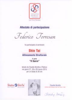 """Attestato corso ShinTai Allineamento strutturale """"il sacro"""" - Federico Torresan"""
